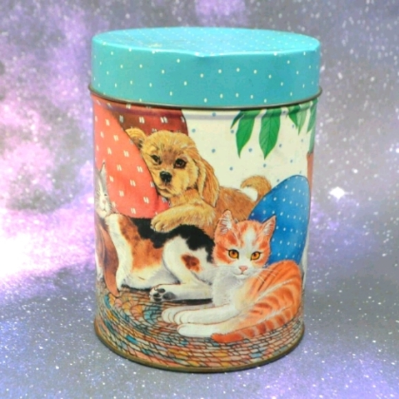 Vintage Kitten and Puppy Tin Canister